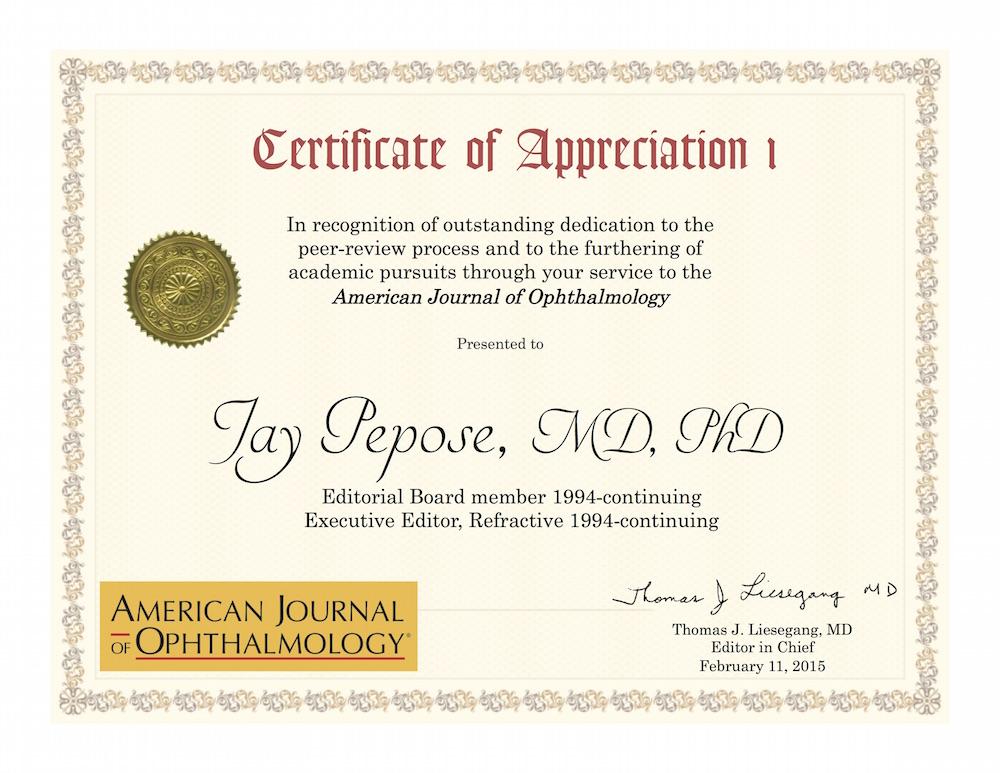 Certificate of Appreciation - Pepose