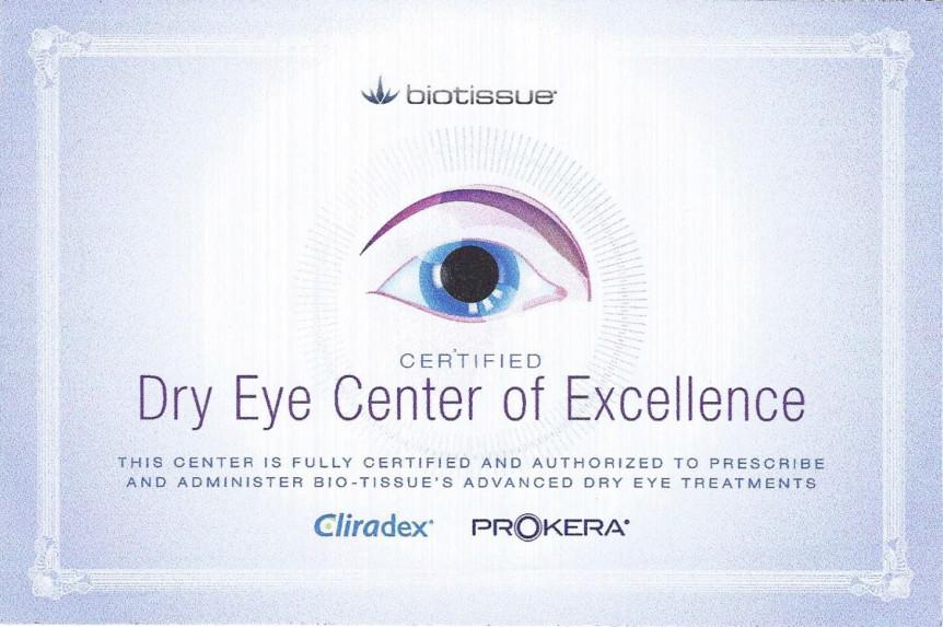 Dry Eyes Certificate